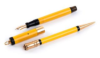 Vintage 1927/1930 set, Celluloid Fountain Pen & Pencil Parker Duofold Mandarin Yellow, lady's size, Nib B