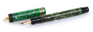 Vintage 1927/1930 set, Celluloid Fountain Pen Parker Duofold Green Jade, lady's size, Nib C