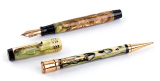 Vintage 1929/1935 set, Celluloid Fountain Pen & Pencil Parker Duofold Duofold Pearl & Black, man's size