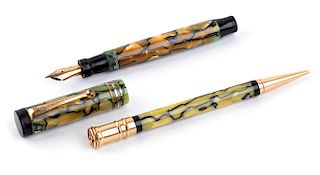 Vintage 1929/1935 set, Celluloid Fountain Pen & Pencil Parker Duofold Duofold Pearl & Black, lady's size