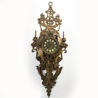 ART NOUVEAU BRONZE DRAGONS AND SATYR ALLEGORICAL CLOCK