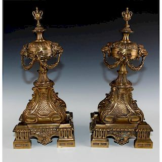 2 MONUMENTAL SOLID BRONZE BEAUX ARTS FIREPLACE ANDIRONS