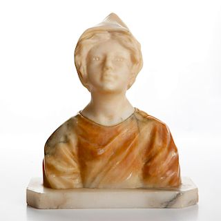 ITALIAN ARTS & CRAFTS PERIOD MARBLE BUST, PEASANT GIRL