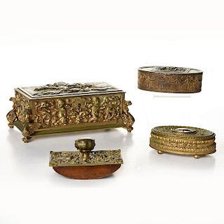 4PC ART DECO METAL CHEST, JEWELRY BOXES & STAMP ROLLER