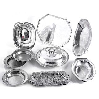 9 PIECE SERVING DISHES, SILVERPLATE & STAINLESS
