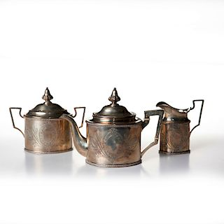 3PC WILLIAM GALE AND SON STERLING SILVER TEA SET