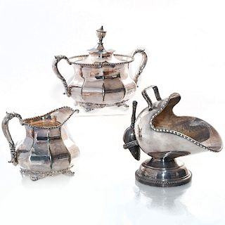 3 SILVER-PLATED CREAMER, LIDDED SUGAR AND SUGAR SCUTTLE