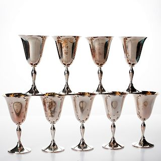 9 WILCOX SILVERPLATE GOLD WASH GOBLETS