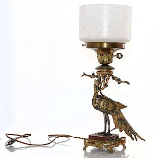 MID CENTURY BRASS PEACOCK LAMP