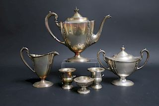 Sterling Silver Tea Set with Additions