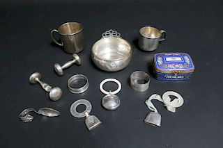 Sterling Silver Baby Items, Tiffany Porcelain Box