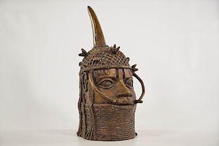"""Benin Bronze Oba Head 11.5"""""""