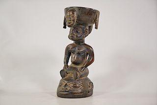 "Yoruba Figural Bowl 11"""
