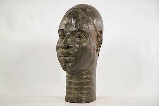 "Yoruba Bronze Ife Head 13"""