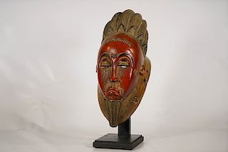 """Baule Ndoma Mask 14.5"""" with Stand"""