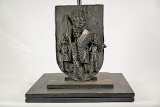 """Benin Bronze Plaque 14"""""""