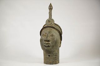 "Yoruba Bronze Ife Head 16"""