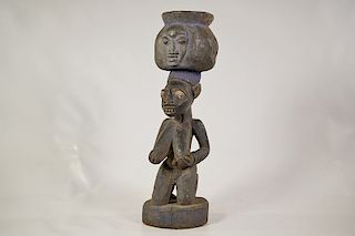 "Yoruba Kneeling Female Bowl Figure 18"""