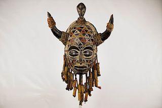 """Highly Decorated Horned Chokwe Mask 19.5"""""""