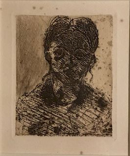 Etching, Tete de Jeune Fille , Paul Cezanne (1839-1906)