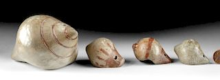 Lot of 4 Museum Exhibited Narino Pottery Conch Whistles