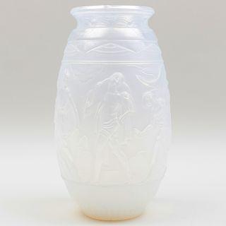 Sabino Art Deco Opalescent Glass Vase
