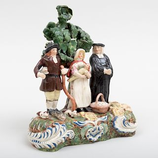 Staffordshire Pearlware Bocage 'Tithe Pig' Figure Group