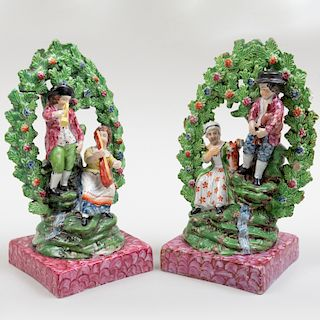 Pair of Staffordshire Pearlware  Bocage Arbor Figure Groups on Faux Marble Bases