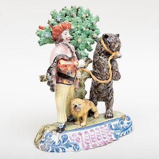 Staffordshire Figure Group of Savoyard and Dancing Bear