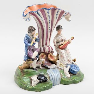 Walton Type Staffordshire Pearlware Spill Vase with Musicians