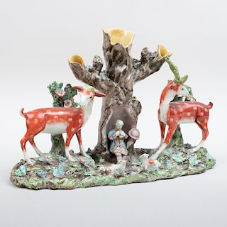 Staffordshire Pearlware Spill Vase with Deer