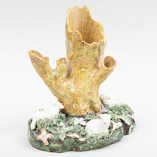Staffordshire Tree Trunk Spill Vase with Sheep