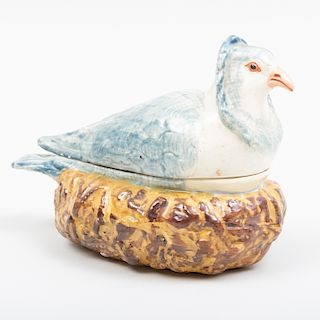 Staffordshire Pearlware Blue Pigeon Form Tureen
