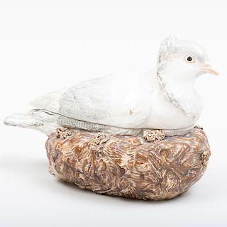 Staffordshire Pearlware Grey Pigeon Form Tureen
