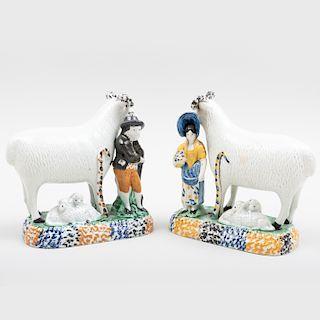 Pair of Staffordshire Pearlware Shepherd and Shepherdess Figure Groups