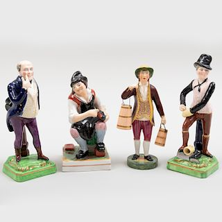 Group of Four Staffordshire Figures of Gentlemen in Pursuits