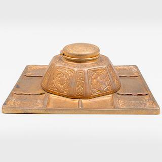 Tiffany Studios Gilt-Bronze 'Zodiac' Inkstand and Tray