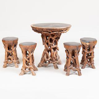 American Rootwood Slate-Top Circular Side Table