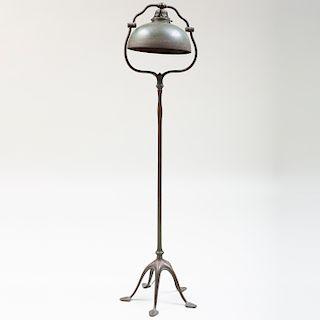Tiffany Studios Bronze Floor Lamp with Patinated Bronze Shade