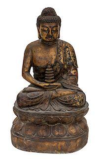 A LARGE GILT WOODEN FIGURE OF BUDDHA SHAKYAMUNI, LIKELY LATE 18TH CENTURY