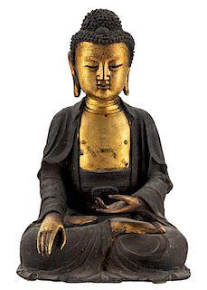 A GILT BRONZE FIGURE OF BUDDHA SHAKYAMUNI, MING DYNASTY, 16TH-17TH CENTURY