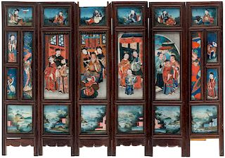 A SIX-PANEL SCREEN DEPICTING THE TALE OF GENJI, LATE QING DYNASTY