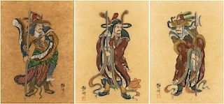 A GROUP OF THREE CHINESE WARRIOR PAINTINGS BY JING HU, CIRCA 1900