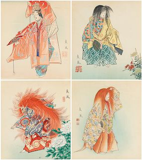 A GROUP OF FOUR CHINESE WOODBLOCK PRINTS, 19TH CENTURY