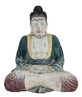 A WOODEN INDONESIAN FIGURE OF BUDDHA SHAKYAMUNI