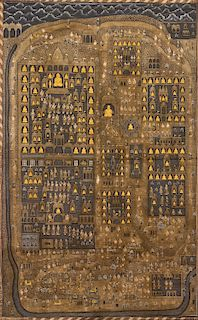 ANTIQUE JAIN PAINTING ON CLOTH, INDIA, PROBABLY 19TH CENTURY