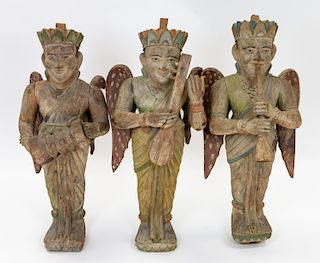 A GROUP OF THREE INDIAN POLYCHROME FIGURATIVE WALL MOUNTS, LATE 19TH CENTURY