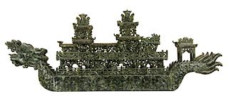 A MONUMENTAL CHINESE CARVED JADE SHIP