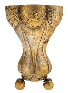 A CHINESE EXPORT ORMOLU BRONZE CHALICE, LATE 19TH CENTURY