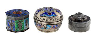 A GROUP OF THREE MINIATURE CHINESE BOXES, 20TH CENTURY